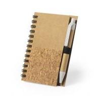 Notitieboekje van kurk met balpen